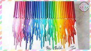 DIY CRAYON ART, RAINBOW MELTING CRAYONS ART