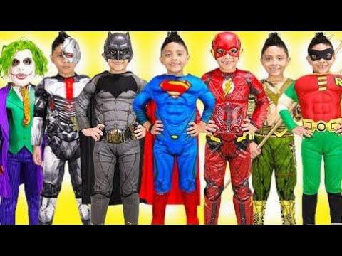 Superhéroes Niños Traje Pista Espectáculo Superman Vestir Diversión Batman Dc Justicia Liga Hallowe