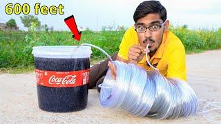 Longest Straw Ever VS Coca Cola | क्या मैं 600 फ़ीट दूर से कोका कोला पी पाउँगा ? Thara Bhai Amit