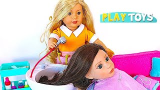 Baby Doll Hair Cut Shop! Play American Girl Doll Spa Chair & Hair Style Salon by Play Toys !