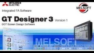 How to Make HMI Program on Mitsubishi Software GT designer 3 Tutorial#1