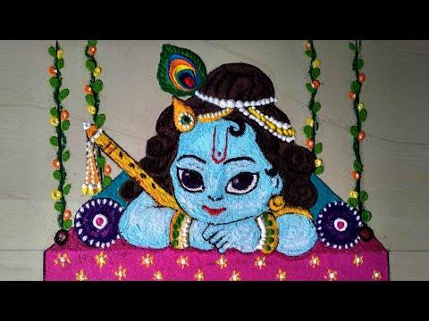 beautiful janamshtmi festival krsihna rangoli design by rrr