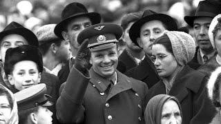 """Юрий Гагарин, """"Живой голос героя"""" 14 апреля 1961, речь на Красной пл. в Москве, кинохроника"""