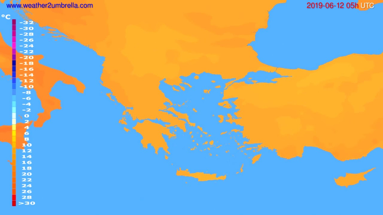 Temperature forecast Greece // modelrun: 00h UTC 2019-06-10