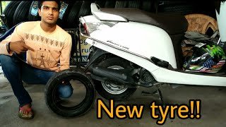 How to install new tyre in scooter | My honda aviator got new MRF tyre | Mr.automobiler