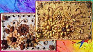 DIY панно цветы из природных материалов