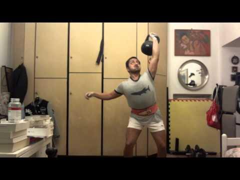 One arm 32kg kettlebell jerk, 10 minutes