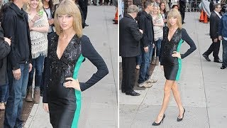 Taylor Swift Feeling Flirty In Skin-Tight Minidress For Date With David Letterman [2014]