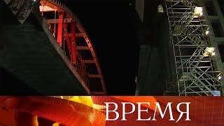 Автомобильная арка установлена наопоры моста через Керченский пролив.