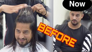 MENS HAIR TRANSFORMATION   FROM LONG TO SHORT HAIRSTYLE SUPERSTYLE NADDY FARHANFITFREAK