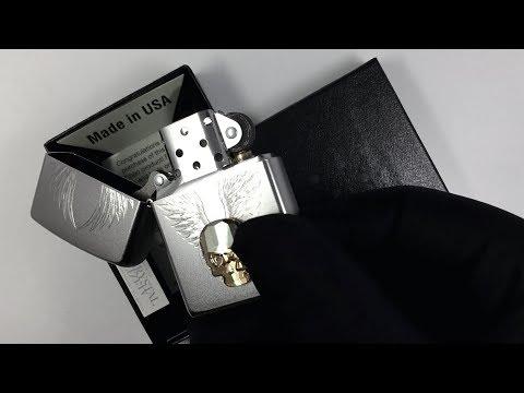 49034 Зажигалка Zippo Gold Skull Design, Satin Chrome