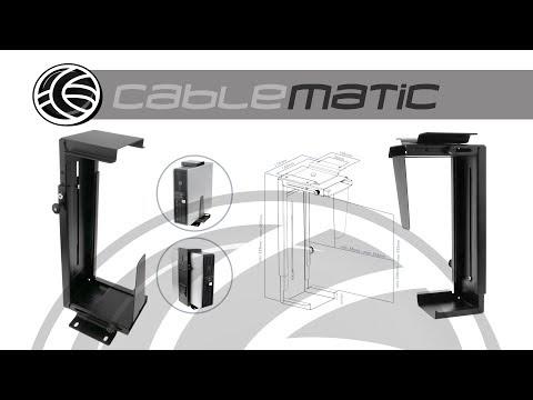 Soporte de caja de ordenador bajo mesa o fijación a pared ajustable - distribuido por CABLEMATIC ®