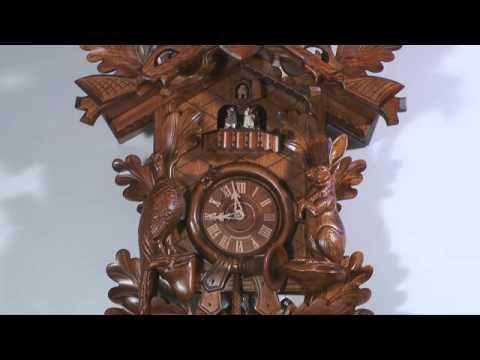 Kuckucksuhr 8-Tages-Uhrwerk geschnitzt 75cm von Anton Schneider