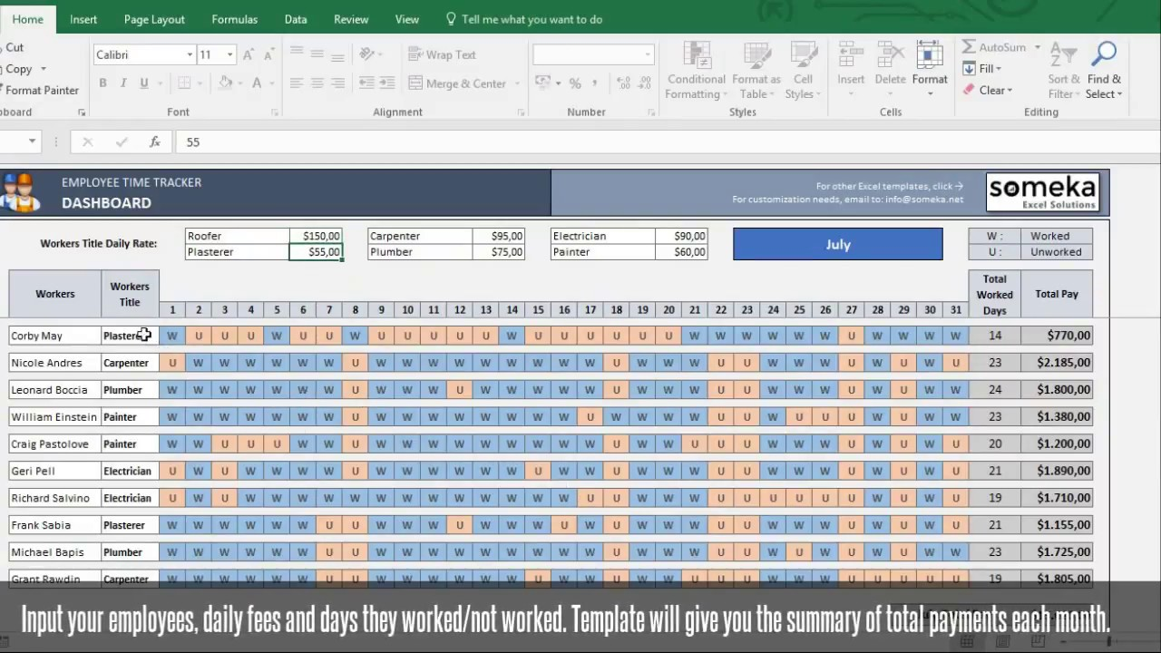 Employee Time Tracker And Payroll Template Someka Excel Video