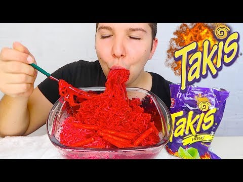 *BIG BITES* Fire Hot *TAKIS FUEGO* Flamin' Hot Spicy Ramen Noodle Challenge *NO TALKING* • MUKBANG