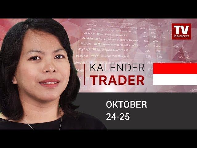 InstaForex tv calendar. Kalendar pedagang untuk 24 – 25 Oktober: Mario Draghi akan mengadakan rapat kebijakan terakhirnya