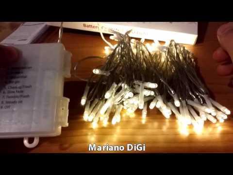 Videorecensione 100 LED Catene Luminose Esterno a Batteria con Timer (8 Modalità, Bianco Caldo)