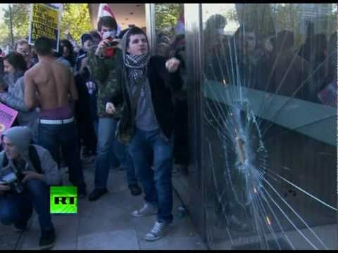 Video Of UK Students Smashing Windows, Starting Fire In London Protest