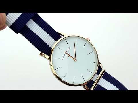 Unboxing XLORDX Damen Unisex Armbanduhr Quarzuhr Uhr Zeitloses Gold Nato Band Blau Weiß
