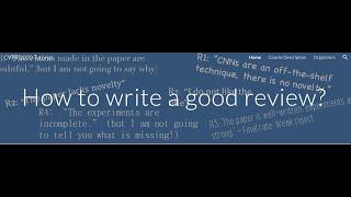 How to write a good review? - CVPR 2020 Tutorial