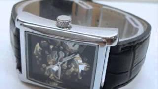 Mens Vintage Style Black & Silver Skeleton Handwind Watch