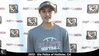 2022 Gia Felice Slapper, Shortstop and Outfield Softball Skills Video - Ca Suncats