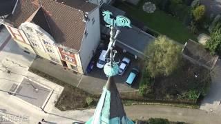preview picture of video 'Drohnen-Inspektion der Kirchturmspitze der Erlöserkirche in Herten - spire inspection'