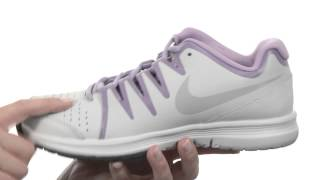 Nike Vapor Court Women's Omni Tennis Shoe White / Grey video