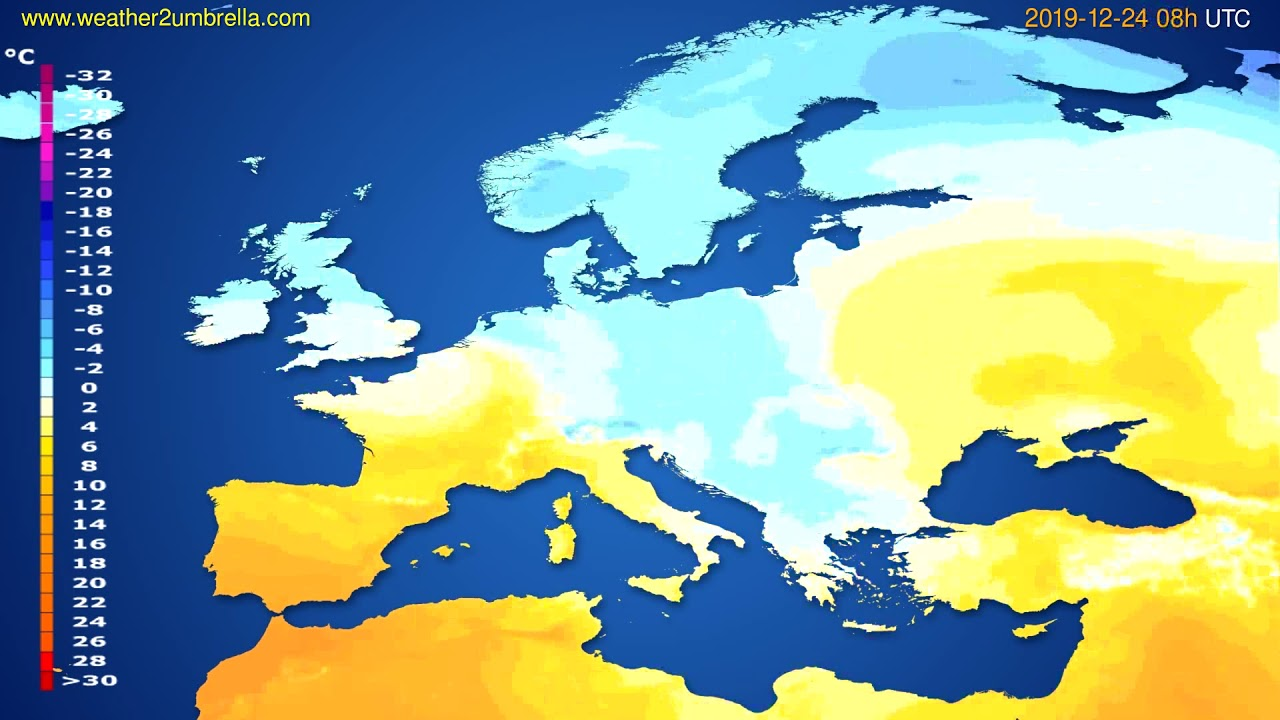 Temperature forecast Europe // modelrun: 12h UTC 2019-12-23
