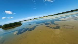 Super relaxing flight over lake-beach, testing out the new GoPro Hero 10, Yucatán. Cinematic FPV ????
