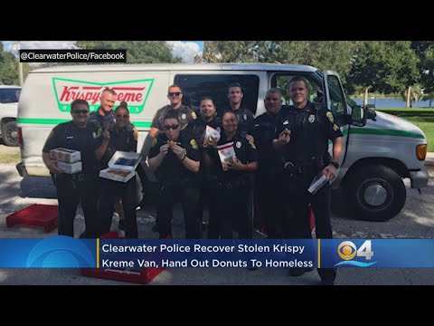 Florida Police Officers Find Stolen Doughnut Van, Share Treats With Homeless
