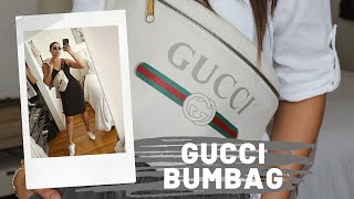 Mens White Large Gucci Print Leather Belt Bag REVIEW || Vintage Logo. NEARLY SOLD OUT WORLDWIDE