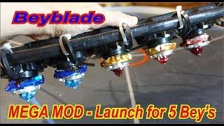 Beyblade- Mega MOD - launch for 5 beys   Бейблейд мега МОД  для 5 Беев