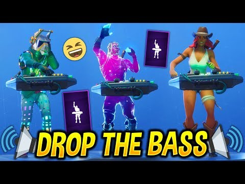 new drop the bass emote with popular fortnite skins hypex video dangdutan me - drop the bass fortnite emote