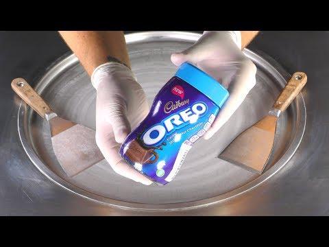 ASMR - OREO Cocoa Ice Cream Rolls | how to make fried Ice Cream with Cadbury Oreo Cocoa - satisfying