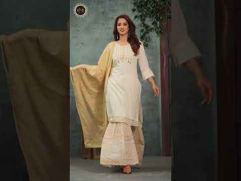 Designer Foil Block Print Sharara Suit