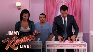 Kim Kardashian vs. Jimmy Kimmel - Diaper Changing Contest
