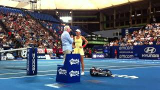 World # 1 Caro Wozniacki With Tens Fred Stolle After Her Win This Morning