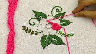 Hand Embroidery Designs Of A Beautiful Flower Pattern With Brazilian Embroidery Stitches @SMBordado