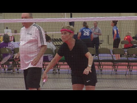 Senior athletes duke it out on the badminton court