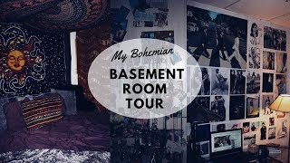 MY BOHEMIAN BASEMENT ROOM TOUR!