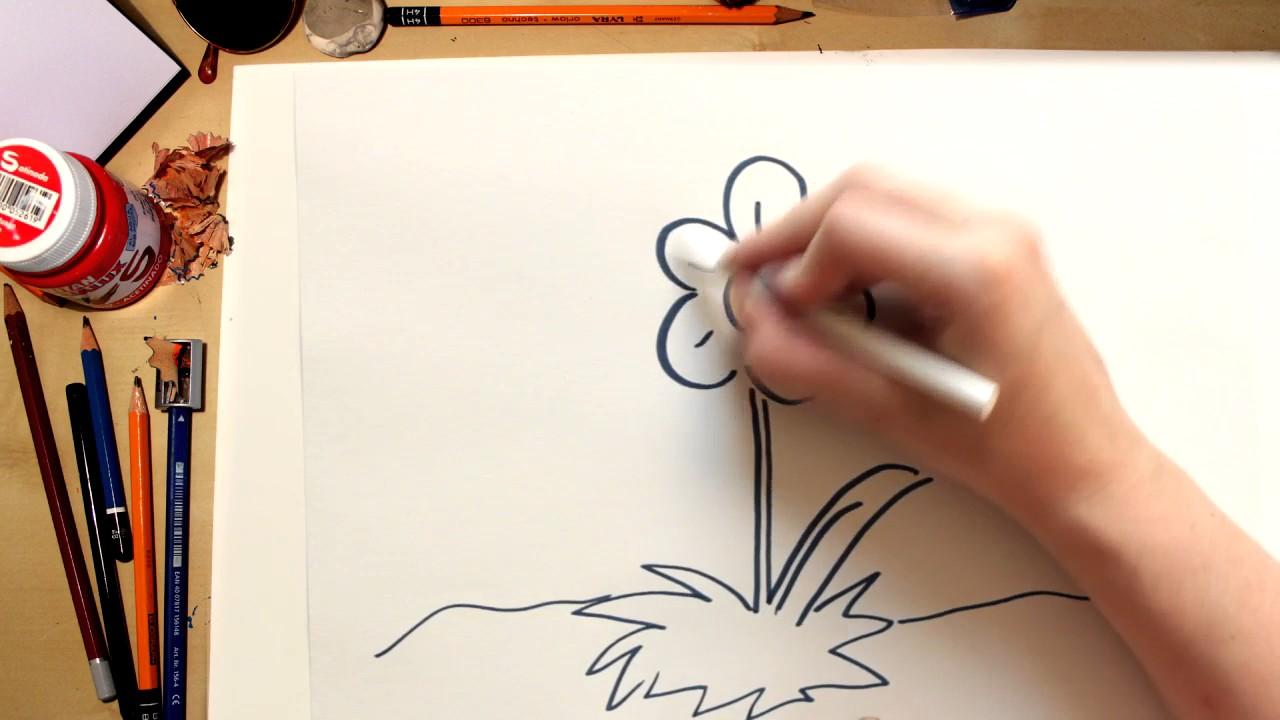 Como dibujar una flor Margarita (comentado)