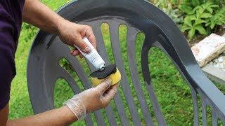 Gartenstuhl streichen mit 1-2-3 REPAIR Kunststoff Farbe PERFECT COLOR in ANTHRAZIT