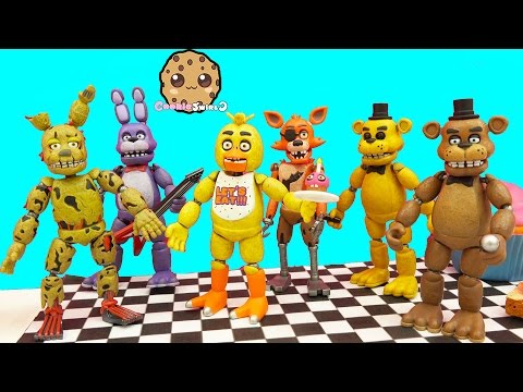 Complete Set Of Five Night's At Freddy's Funko Action Figures + Bonus Spring Trap