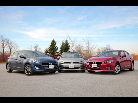 2015 Mazda3 vs. 2015 Volkswagen Golf vs. 2016 Hyundai Elantra