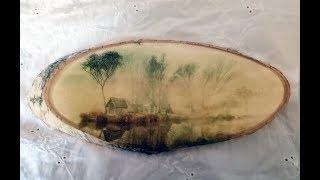 Декупаж на срезе дерева. Декорированный деревянный спил