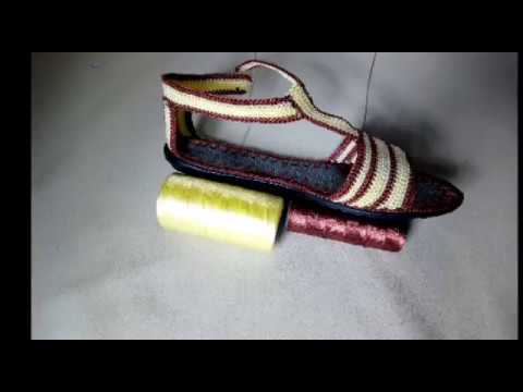 How to make crochet sandals. Simple pattern. (naztazia).