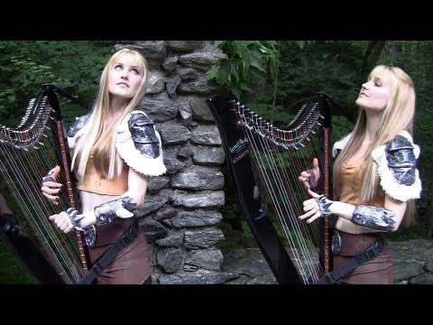 Blonde Twins Playing The Elder Scrolls Theme On Harps While Standing In A Forest