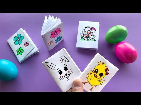 DIY Mini Notizbuch basteln mit Papier für Ostern. Ostergeschenke: Osterhase, Blumen, Ostereier