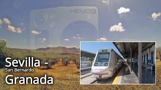 Sevilla - Granada train side view video with map. part